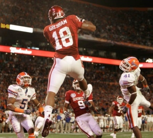 Gresham showed his athleticism with this TD catch in the BCS title game against Florida
